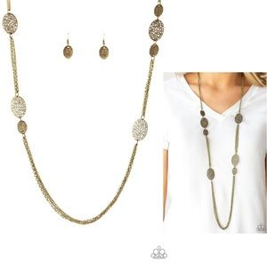 A Force of Nature Long Brass Necklace and Earrings